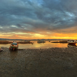 boat interesting landscape beach sunset freetoedit