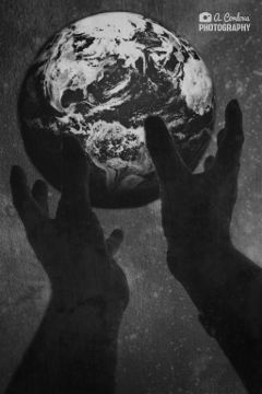 wapearthinhands world hands space blackandwhite