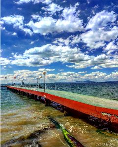 view scaffolding sea seaside beach