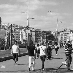 blackandwhite istanbul galata bridge people
