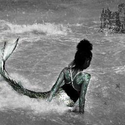 mermaid ocean castle clipart blackandwhite