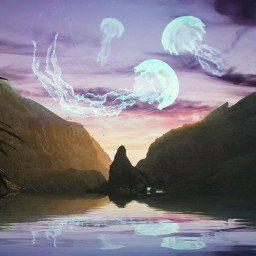 jellyfish colorful surreal surrealism edited