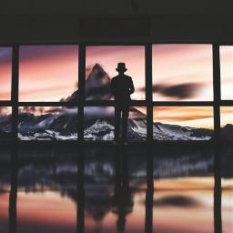 sunset mountains surreal surrealism edited