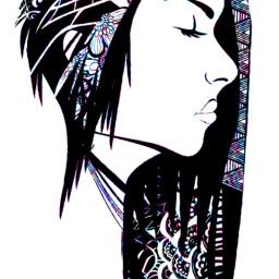 art draw girl hair creative