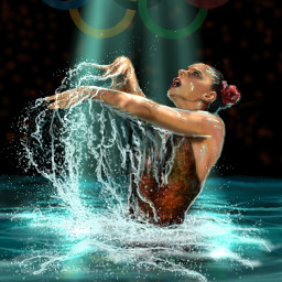 wdpathletes drawing artwork people water splash olympics2016